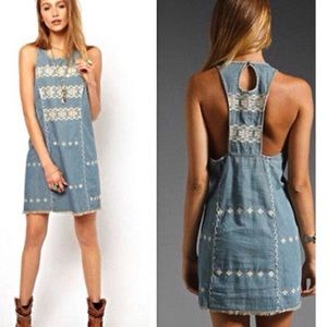Free people Chambray fringe embroidered dress